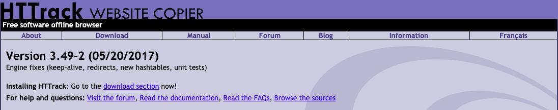 HTTrack Website Copier lets you archive a whole website