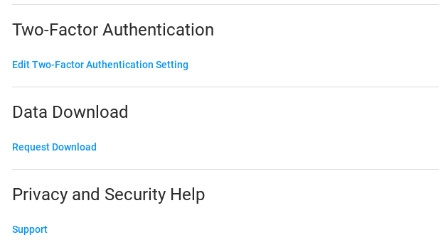 Instagram data download option
