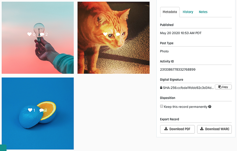 Real-time archiving of Instagram with Pagefreezer